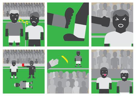 Vector soccer unsportsmanlike conduct flat design