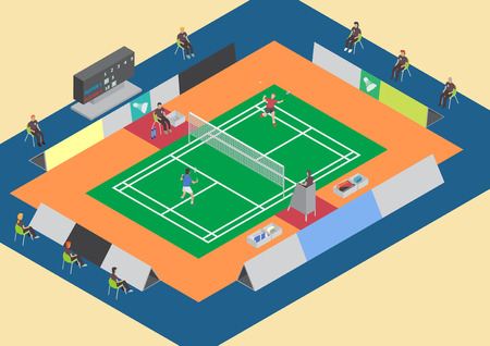 badminton racket: Badminton competition single match flat isometric