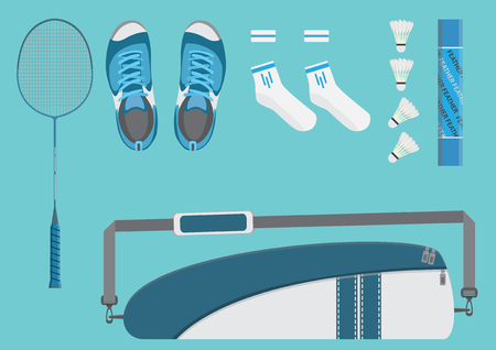Vector badminton equipment bag shuttlecock racket shoes socks