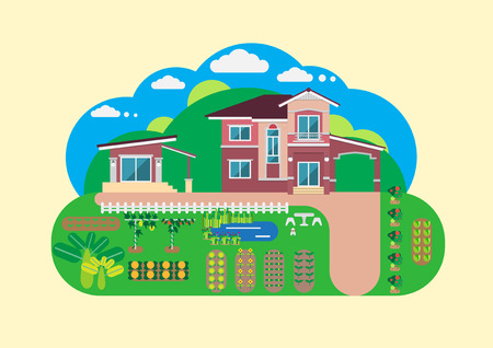 House and garden yard flat graphic
