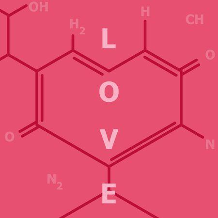 Love heart shape pink chemical skeletal structure style Illustration