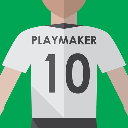 Soccer playmaker number10 flat graphic Illustration