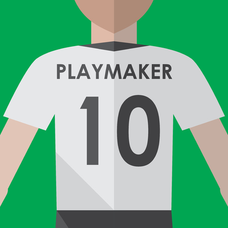 Soccer playmaker number10 flat graphic Ilustracja