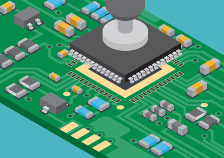 Tecnología de montaje superficial colocación de componentes isométrica Ilustración de vector