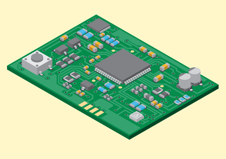 pcb: Vector surface mount technology printed circuit board isometric