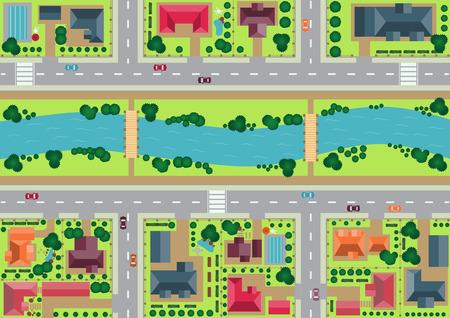 Vector dorp uitzicht vanaf de top vlakke grafische Stock Illustratie