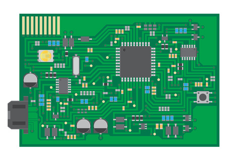 pcb: Vector surface mount technology PCBA top view flat graphic