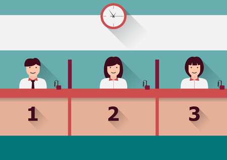 Vector counter service clerks at work flat graphic