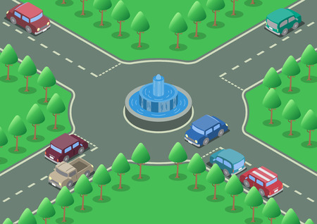 fountains: Vector isometric roundabout fountain road cars Illustration