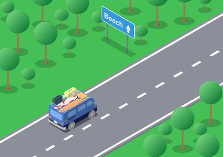 Vector isometric road trip the van with luggages going to the beach