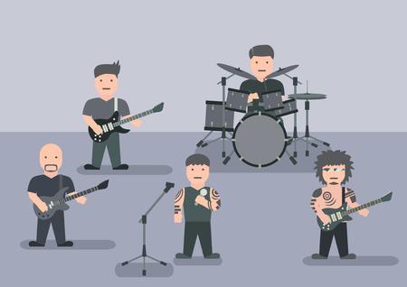Vector music band flat graphic Illustration