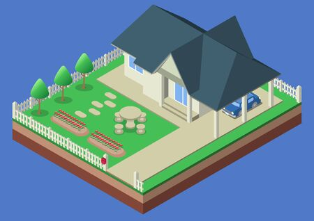 car garden: Vector isometric house garden yard car