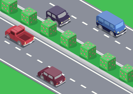 Vector isometric isometric car on the road traffic