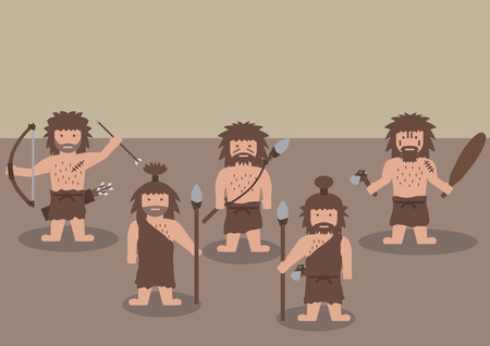 caveman: Vector caveman warrior ancient men with weapon flat graphic