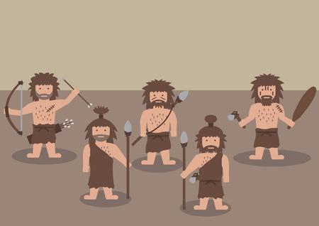 hombre prehistorico: Vector hombre de las cavernas guerreros antiguos hombres con arma gráfica plana Vectores