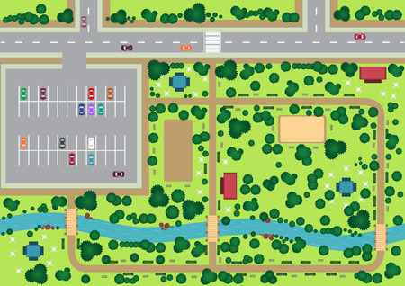 birds eye view: Vector park view from top flat graphic