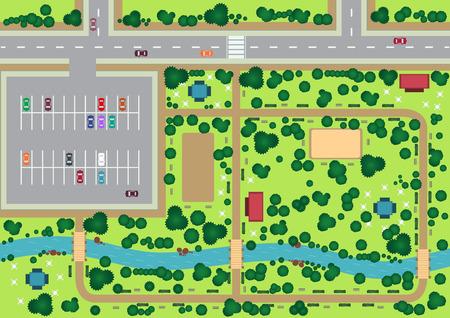 cenital: Vista al parque Vector de arriba gráfica plana