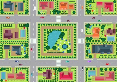 Vector dorp en uitzicht op het park van boven platte grafische Stock Illustratie