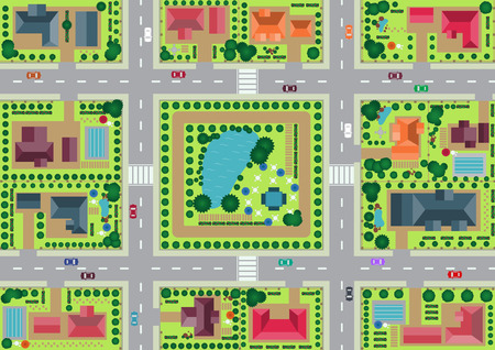 car garden: Vector village and park view from top flat graphic Illustration