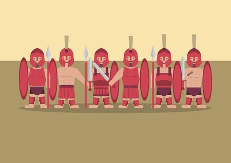 Vector ancient greek soldier flat graphic
