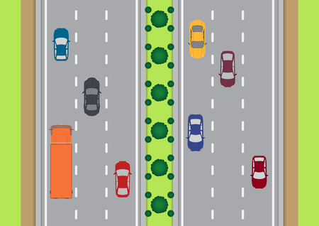 highway traffic: Vector highway traffic view from top