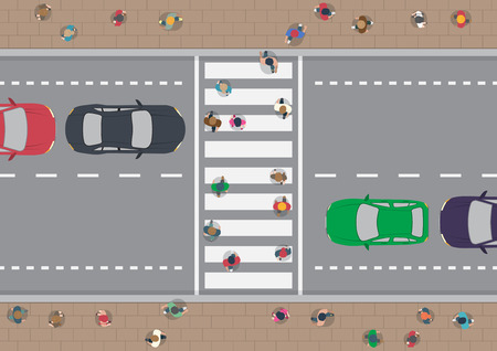 of view: Vector people on crosswalk aerial view Illustration