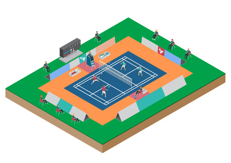 indoor sport: Vector badminton competition double match flat isometric Illustration