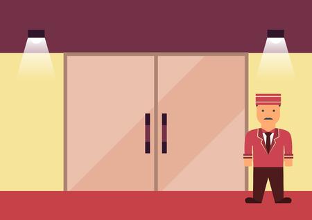 Vector doorman in uniform flat graphic