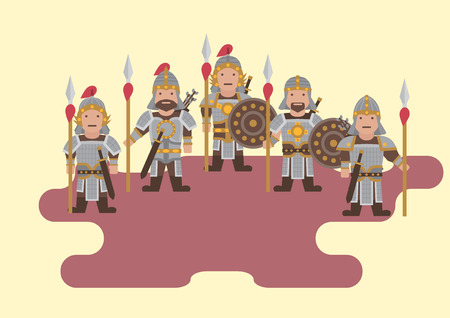 ancient soldiers: Vector ancient chinese soldier flat graphic Illustration