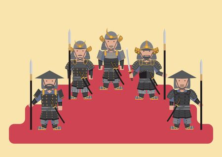 ancient japanese: Vector ancient japanese soldier samurai flat graphic Illustration