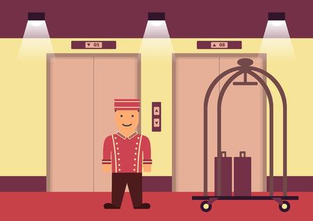 bellboy: Vector bellboy in uniform flat graphic