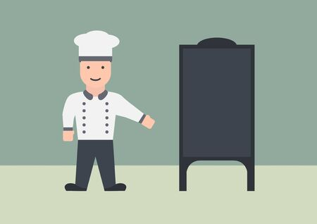 Vector chef with menu board flat graphic