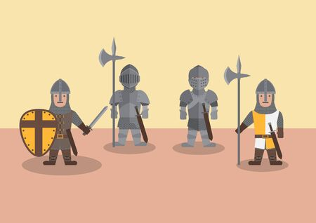 Vector medieval soldier flat graphic