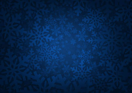 Blue background with snowflake edges.