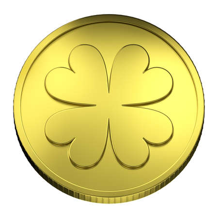four leaf clovers: Top View of Gold Coin representing a quatrefoil, symbol of lucky