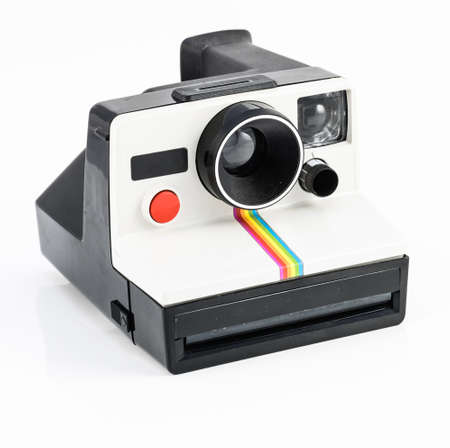 Vintage camera on white background photo