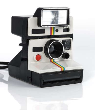film camera: Vintage camera polaroid style on white background