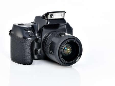 reflex: Vintage fotocamera 35 mm reflex su sfondo bianco