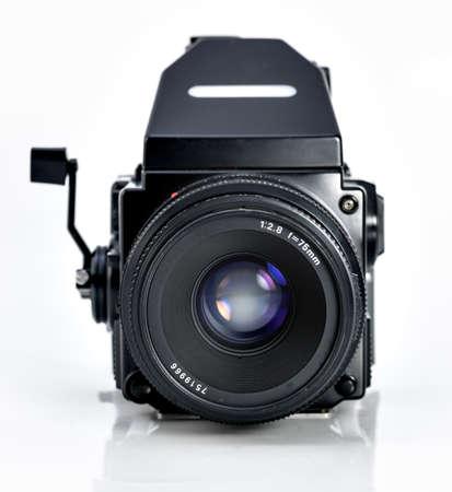 Vintage medium format camera on white background