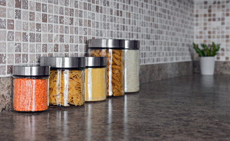 Galati/ Romania - 04.10.2018: Glass jar used in the kitchen for different utilities Standard-Bild