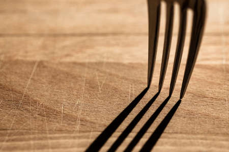 Stainless steel fork and its shadow on a wooden background
