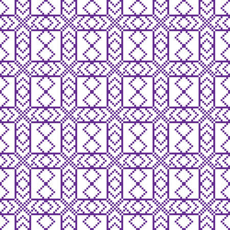 mounting: Seamless texture. Pixel graphics. Various versions of the squares on the location of the mounting area.  Image. For web design, presentations, textile and light industry. White and purple color