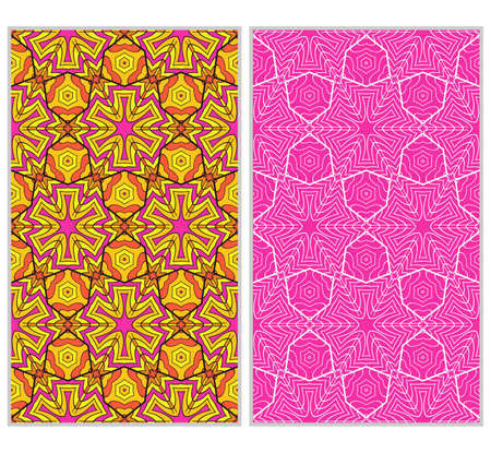 Set of 2 vertical e seamless lace pattern with elements of floral ornament, kaleidoscope mosaic. Different colored bases.  illustration. For decorating invitations, fashion design, textiles