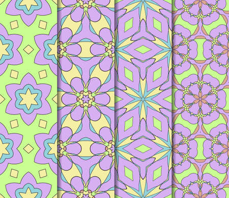 wedding dress: Set of 4 vertical e seamless lace pattern with elements of floral ornament. Different colored bases. vector illustration. For decorating invitations, fashion design, textiles