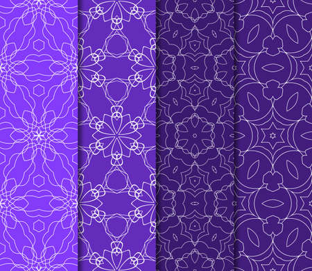 Set of 4 vertical e seamless lace pattern with elements of floral ornament. Different colored bases. vector illustration. For decorating invitations, fashion design, textiles Stock Vector - 76180037