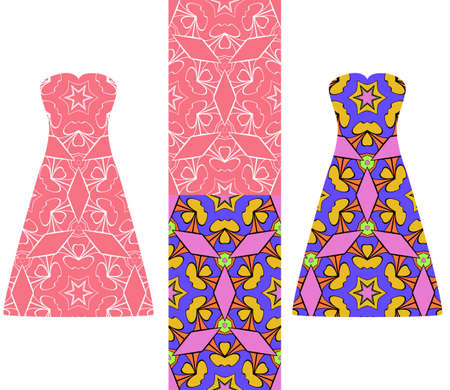 set of two types of seamless geometric patterns, and two versions of a summer female dress with an open top decorated with these patterns. vector illustarion. Stock Photo