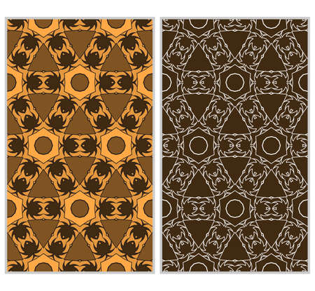 Set of 2 vertical e seamless lace pattern with elements of floral ornament, kaleidoscope mosaic. Different colored bases. vector illustration. For decorating invitations, fashion design, textiles