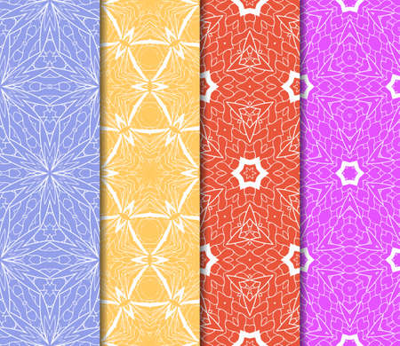 wedding dress: Set of 4 vertical elements to creating a seamless lace pattern with elements of floral ornament. Different colored bases. vector illustration. For decorating invitations, fashion design, textiles Illustration
