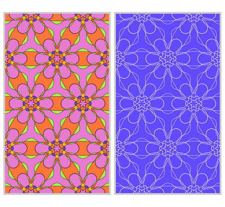 seamless ornamental pattern set floral geometric style vector illustration.
