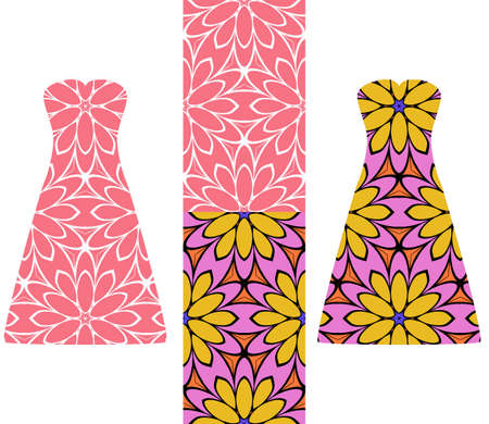 wedding dress: set of two types of seamless geometric patterns, and two versions of a summer female dress with an open top decorated with these patterns. vector illustarion
